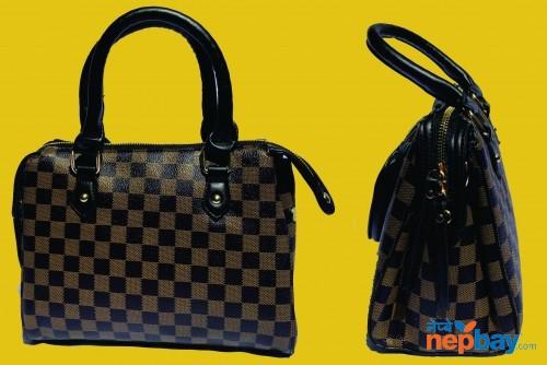 Black Brown Checked Handbag