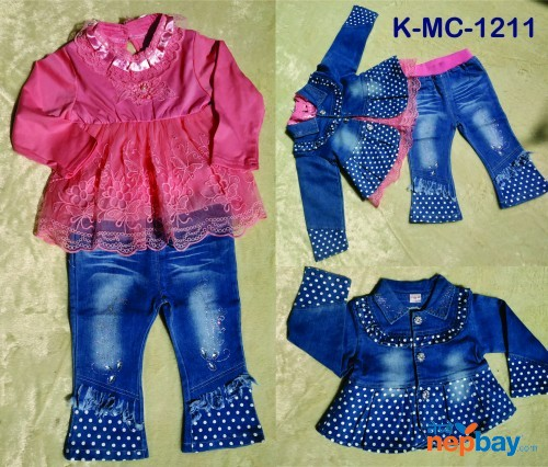 3 Piece Baby Girl Dress Set K-MC-1211