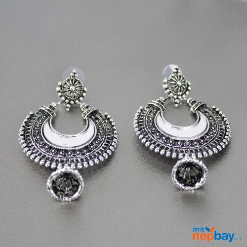 Silver Toned Mirror Embellished Chaandbali Dangle Earrings