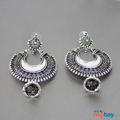 Silver Toned Mirror Embellished Chaandbali Dangle Earrings