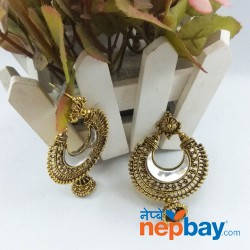 Gold Tone Mirror Chandbali Designed Earrings