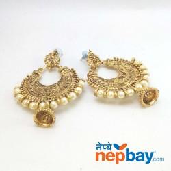 Golden Faux Pearl Chandbali Pinjara Drop Earrings