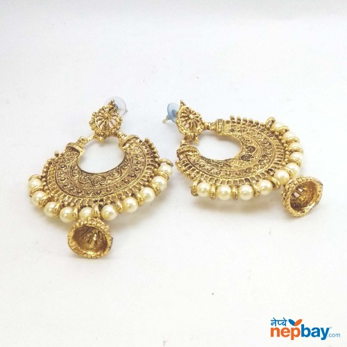 Golden Faux Pearl Chandbali Pinjara Drop Earrings