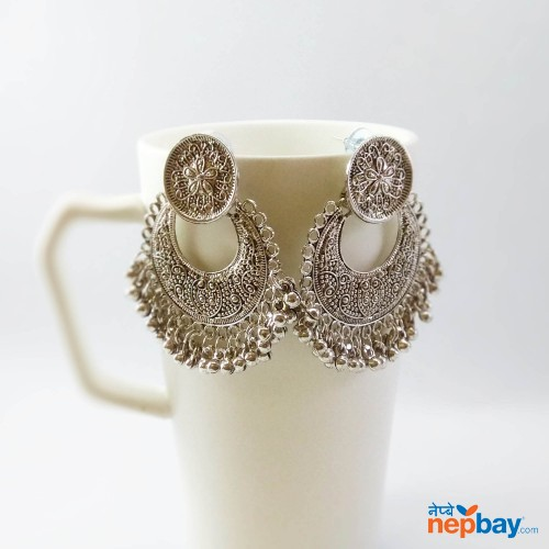 Silver Tone Chandbali Top Style Earrings For Women