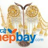 Gold Toned Faux Moti and Stones Studded Bahubali Style Danglers