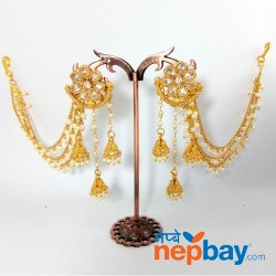 Gold Toned CZ Stones & Faux Moti Studded Bahubali Style Danglers