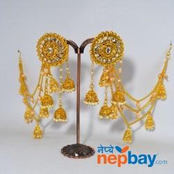 Gold Toned Stone Studded Bahubali Style Danglers