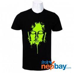 WOSA- Black Neck Buddha Face Print Half Sleeve T-shirt for Men