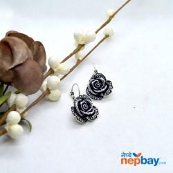 Silver/Black Flower Designed Earrings