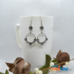 Silver/Black Flower Adorned Round Drop Earrings