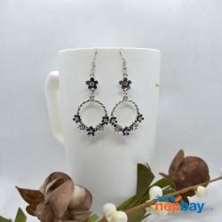 Silver/Black Flower Adorned Round Drop Earrings