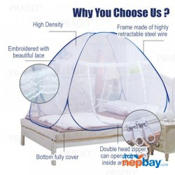 Portable Mosquito Net- Sleep Screen Pop-up Mosquito Net Bed Guard Tent Folding Attached Bottom With Zipper Anti-Mosquito Cloth For Babies Adults Travel Camping ( 150*200CM) (Color May Vary)