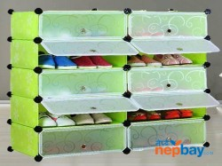 DIY 2 x 5 Cube Shoe Rack Wardrobe Box Storage Closet Organizer Cabinet with Doors