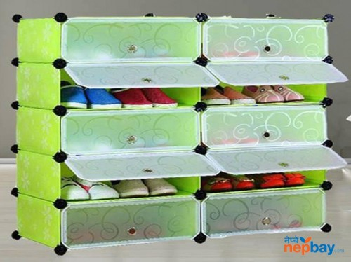 DIY 2 x 5 Cube Shoe Rack Wardrobe Box Storage Closet Organizer Cabinet with Doors
