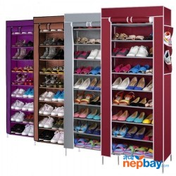 9 Layer Shoe Stand Rack With Cover (Color May Vary)