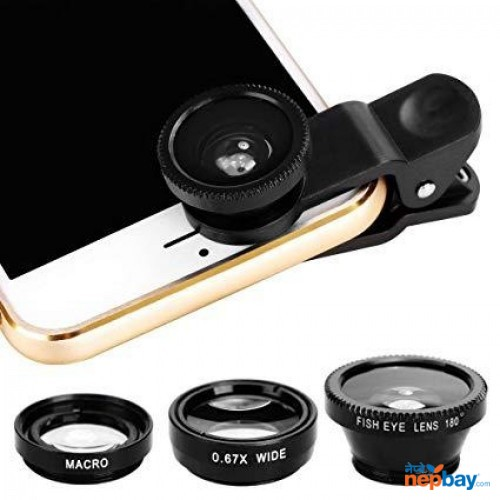 New Universal 3 in 1 Lens For IOS/Android Mobile (Black)