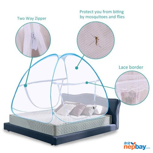 Portable Mosquito Net- Sleep Screen Pop-up Mosquito Net Bed Guard Tent Folding Attached Bottom With Zipper Anti-Mosquito Cloth For Babies Adults Travel Camping ( 180*200CM)