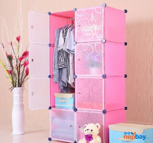 6 Cubes pink Hand Painted Armoire Non-see Through PP Material Cube FH.TOPY Closet Wardrobe (MP-28-51)