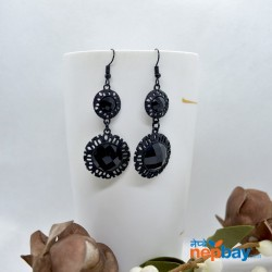 Black Stone Adorned Double Round Drop Earrings