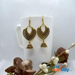 Golden Antique Patterned Chandbali Designed Earrings