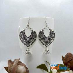 Silver Antique Patterned Chandbali Designed Earrings
