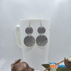 Silver Double Round Mandala Designed Drop Earrings