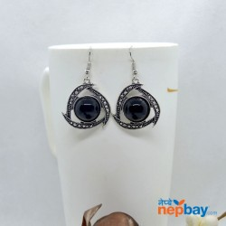 Silver/Black Round Stone Adorned Silver Dot Patterned Earrings