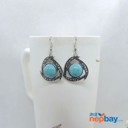 Silver/Turquoise Round Stone Adorned Silver Dot Patterned Earrings