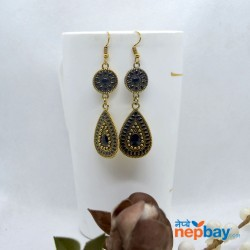 Golden/Multicolored Drop Shaped Tribal Patterned Antique Style Earrings (Black)