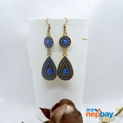 Golden/Multicolored Drop Shaped Tribal Patterned Antique Style Earrings (Blue)