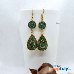 Golden/Multicolored Drop Shaped Tribal Patterned Antique Style Earrings (Green)