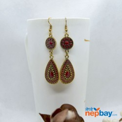 Golden/Multicolored Drop Shaped Tribal Patterned Antique Style Earrings (Red)