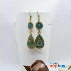 Golden/Multicolored Drop Shaped Tribal Patterned Antique Style Earrings (Turquoise)