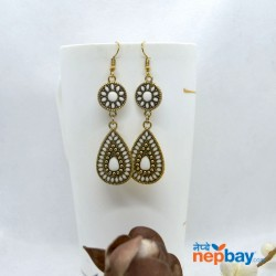 Golden/Multicolored Drop Shaped Tribal Patterned Antique Style Earrings (White)