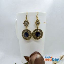Stone Adorned Golden Flower Designed Round Drop Earrings (Black)