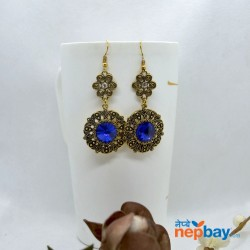Stone Adorned Golden Flower Designed Round Drop Earrings (Blue)