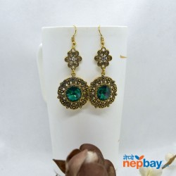 Stone Adorned Golden Flower Designed Round Drop Earrings (Green)