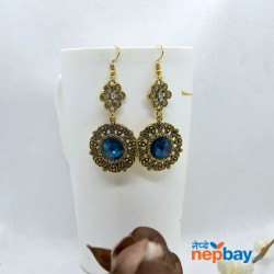 Stone Adorned Golden Flower Designed Round Drop Earrings (OceanBlue)