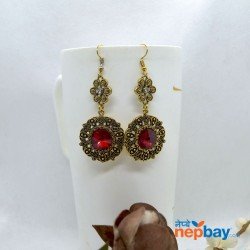 Stone Adorned Golden Flower Designed Round Drop Earrings (Red)
