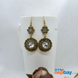 Stone Adorned Golden Flower Designed Round Drop Earrings (White)