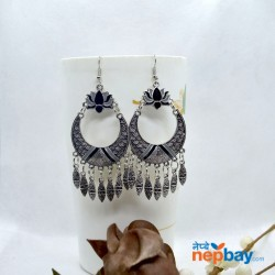 Silver Tribal Patterned Lotus Designed Ethnic Chandbali Tassel Drop Earring (Black/Grey)