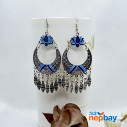 Silver Tribal Patterned Lotus Designed Ethnic Chandbali Tassel Drop Earring (Blue)