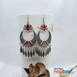 Silver Tribal Patterned Lotus Designed Ethnic Chandbali Tassel Drop Earring (MaroonPink)