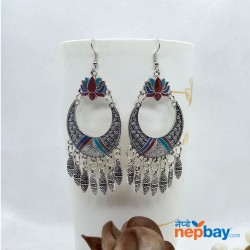 Silver Tribal Patterned Lotus Designed Ethnic Chandbali Tassel Drop Earring (Multi)