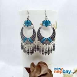 Silver Tribal Patterned Lotus Designed Ethnic Chandbali Tassel Drop Earring (Turquoise)