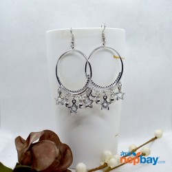Silver Crystal Drop Round Drop Earrings