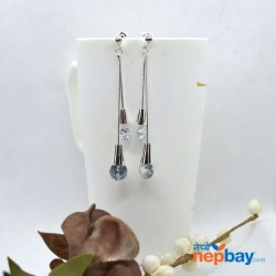 Silver Long Crystal drop Earrings