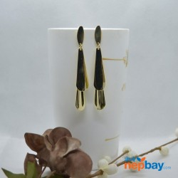 Golden Long Drop Sleek Design Earrings