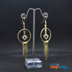 Golden Faux Crystal Adorned Round Metal Tassel Drop Earrings