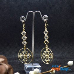 Golden/White Round Crystal Drop Dangling Earrings